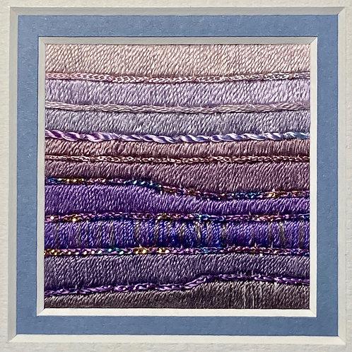 Stitch Impressions | Shades of Lavender | Small Square Silk Thread Picture
