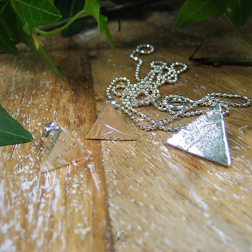 Silver Sparrow Jewellery | Ice Triangular Pendant & Earrings