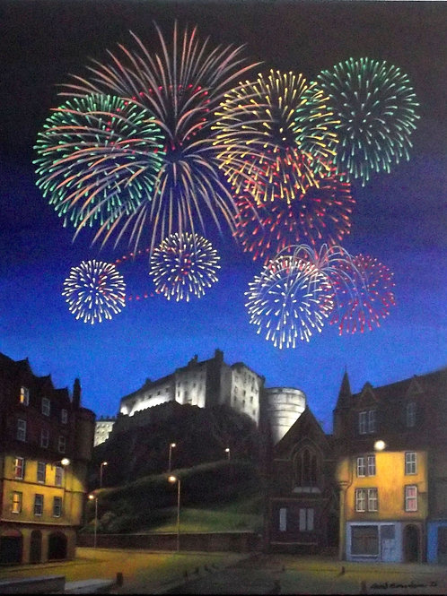 David Richardson Artwork | Edinburgh Castle Fireworks Print