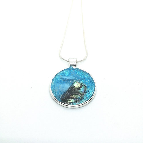 DoodleWrap Designs | Blue Glass and Abalone Round Pendant