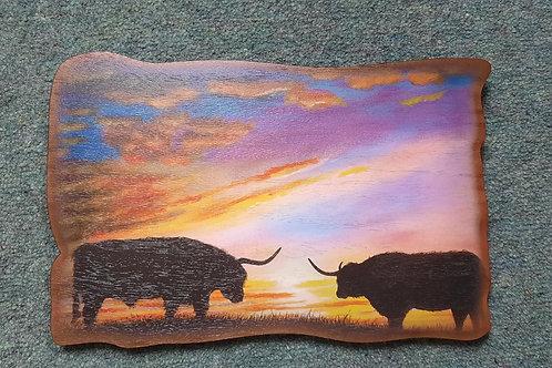 Haggisartz   Moonlight Cows wooden wall plaque