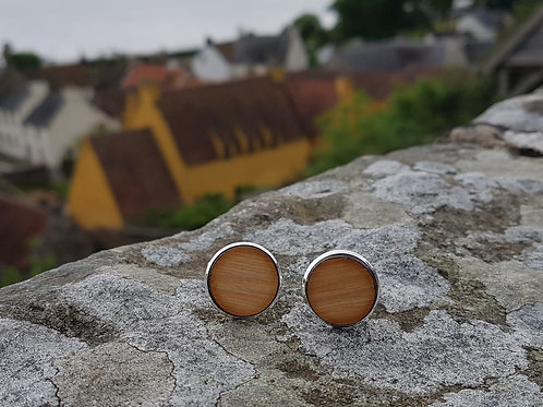 Reza Wood Designs | Whisky Barrel Cufflinks (Silver Plating, Oak Sides)