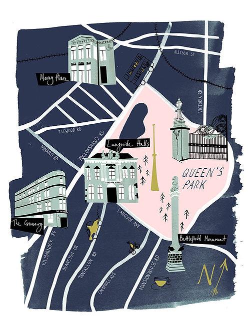 Nebo Peklo | Glasgow Southside Illustrated Map Print