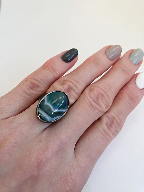 Aneta Beyger-Ptak | Ring with Green Cabochon