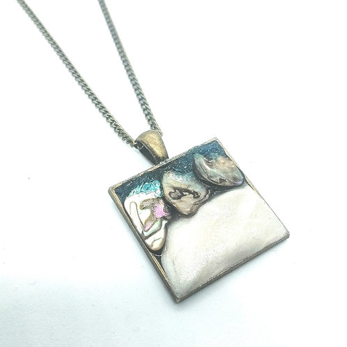 DoodleWrap Designs | Abalone and Clay Square Pendant