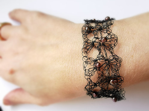 Maze of Lace | Black Crochet Copper Wire Bracelet with Freshwater Pearls