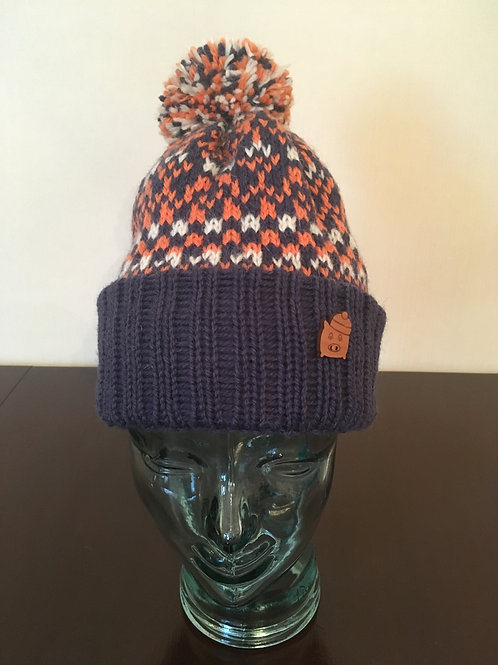 Pom Pom Pig | Navy, Orange and White Hand-Knitted Hat