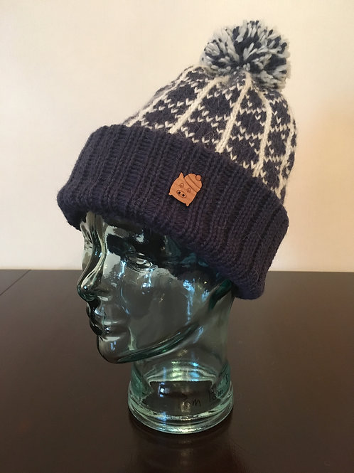 Pom Pom Pig | Navy and White Hand-Knitted Hat