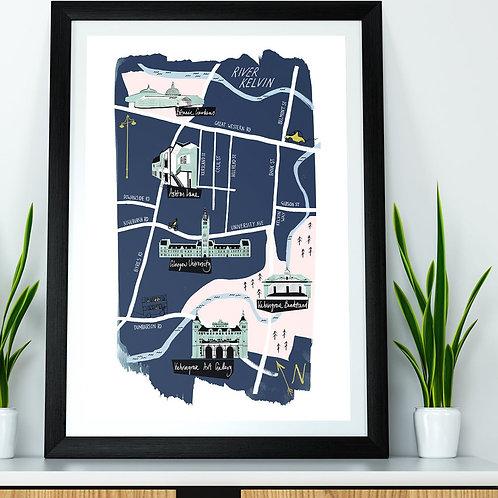 Nebo Peklo | Glasgow Westend Illustrated Map Print