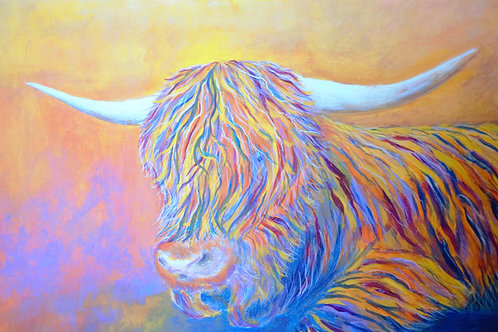 Haggisartz | Multi-coloured Highland Cow Mounted Print