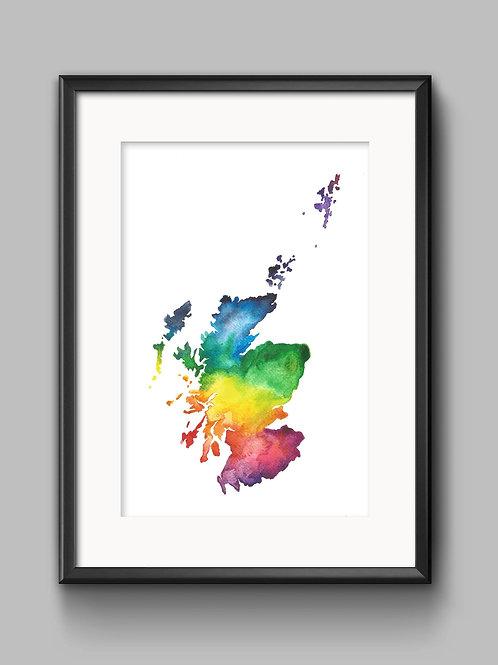 Sarah Leask   Scotland Map Watercolour Print