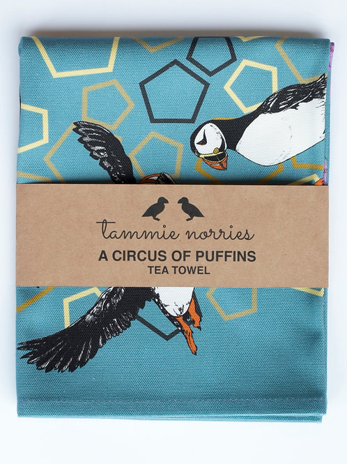 Tammie Norries | A Circus of Puffins Tea Towel