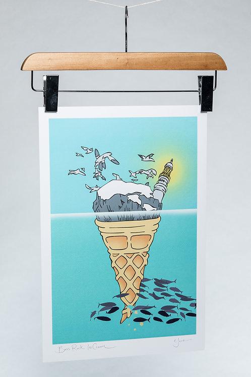 Cheryl Jones | Bass Rock Ice-Cream A3 signed print