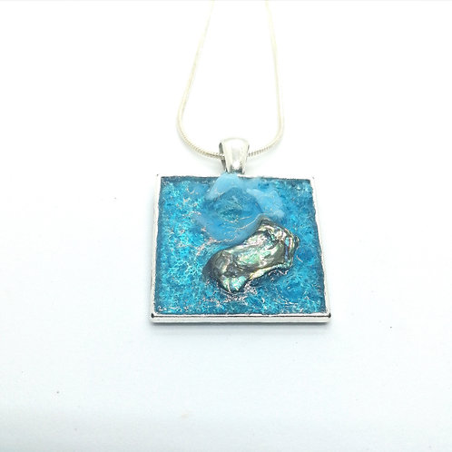 DoodleWrap Designs | Blue Glass and Abalone Square Pendant