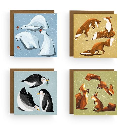 Harriet Julia Art | Animal Christmas Card Bundle (Pack of 4 or 8)