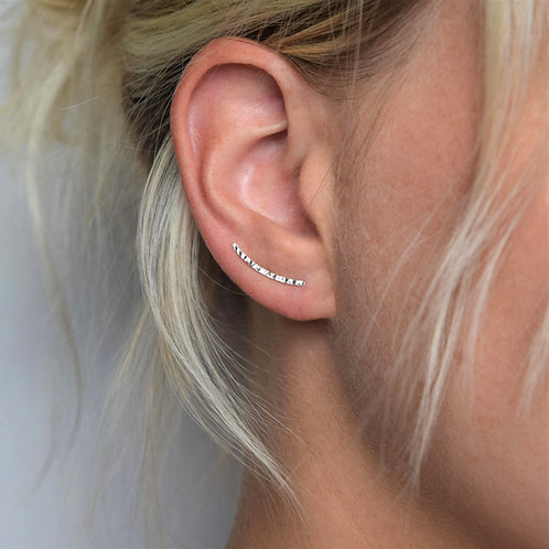 MUKA Studio | Hammered Ear Climbers (Silver or Gold)