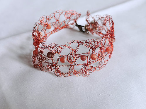 Maze of Lace | Bright Red copper wire bracelet with Agate beads