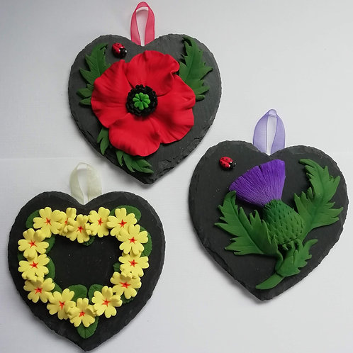Its Uniquely Yours   Sculptural Flowers on Small Slate Heart