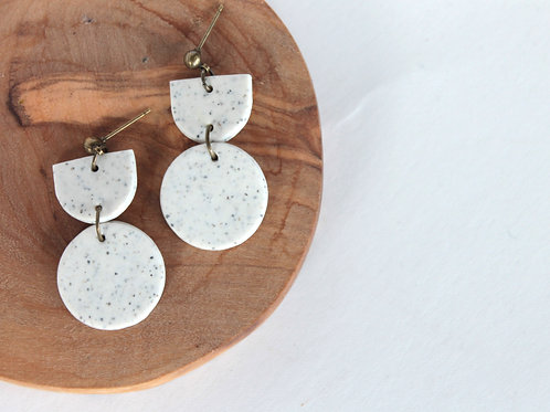 Wonky Lemon | Speckled White Drop Earrings