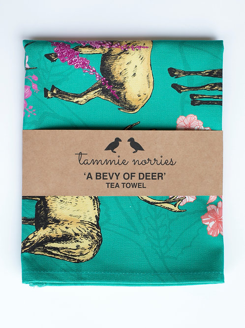 Tammie Norries | A Bevy of Deer Tea Towel