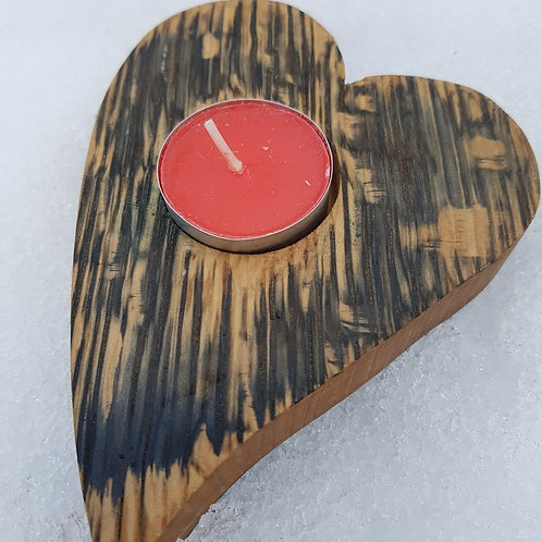 Reza Wood | Curved Heart Tealight Holder made from recycled whisky barrel