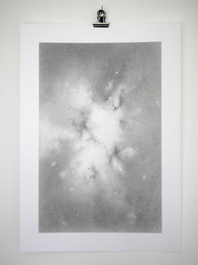 Nebula 1, 16x24.5cm graphite on 21x29.7cm fine art paper