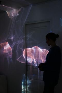Gallery shot of light installation. Paris. 2018