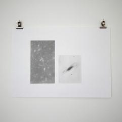 Celestial Study of Andromeda Nebula & deep space. Graphite on paper. 2020