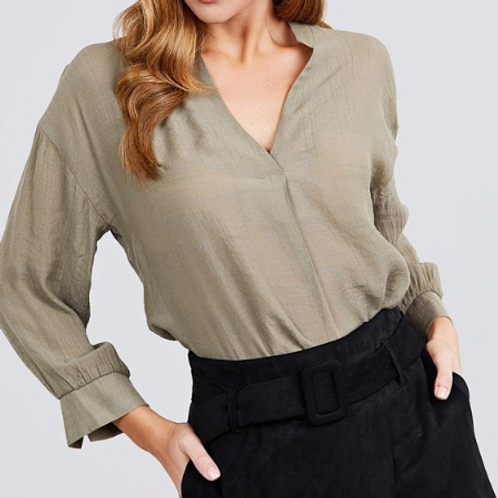 Cuff Sleeve Woven Top