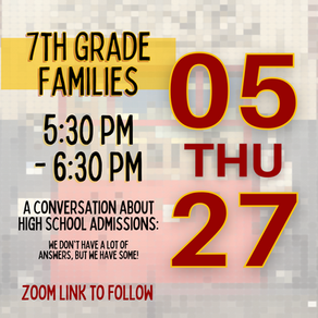 7th Grade HS Night, May 27 5:30-6:30 - Zoom Link Shared Soon!