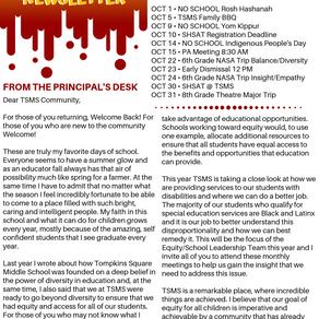 TSMS Newsletter September 2019