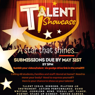 TSMS's Got Talent! 2nd Annual Virtual Talent Showcase! Submissions Due May 31!