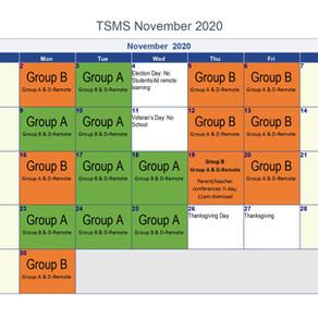 November 2020 In-Person Schedule Calendar
