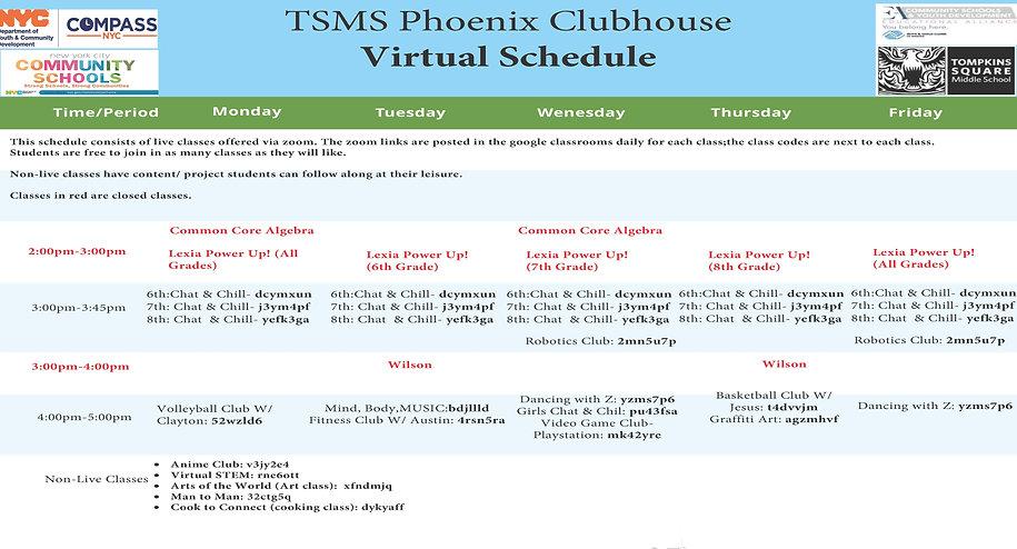 TSMS Virtual After School Program Schedu