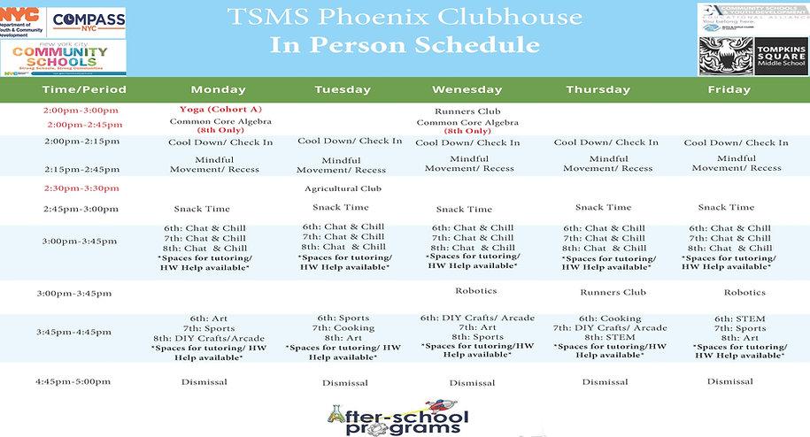 TSMS In Person After School Program Sche
