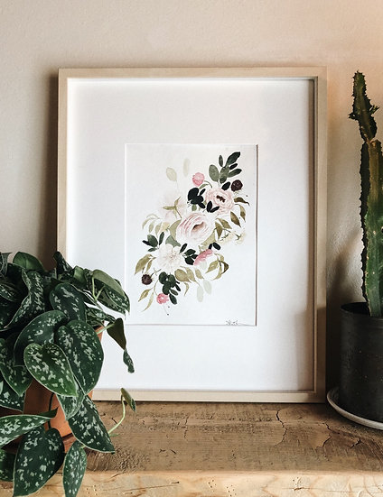 Roses and Eucalyptus Romantic Loose Florals Original Watercolor Painting —  9x12