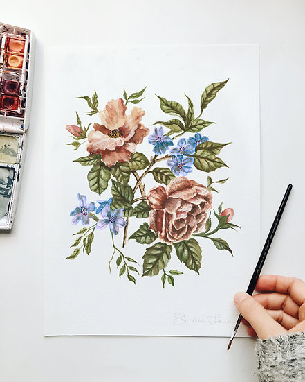 Pink and Blue Wildflower Bouquet Watercolor Painting — Print