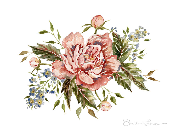 Wild Rose Bouquet Watercolor Painting — Print