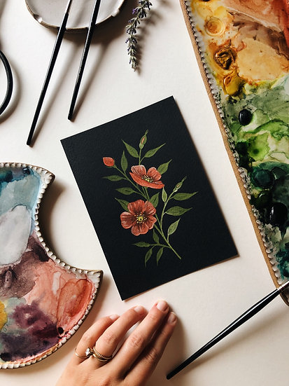 Red Florals Original Artwork on Black Watercolor Paper — 5x7