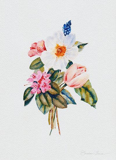 Loose Spring Botanicals Watercolor Painting — Print
