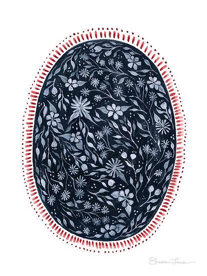 Floral Oval Gouache & Watercolor — PRINT