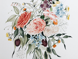 Custom Wedding Bouquet Painting For A Southern Bride