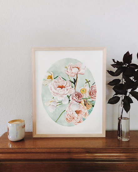 Peonies and Poppies on Blue Watercolor — Print