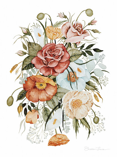 Roses and Poppies Bouquet Watercolor Painting — Print