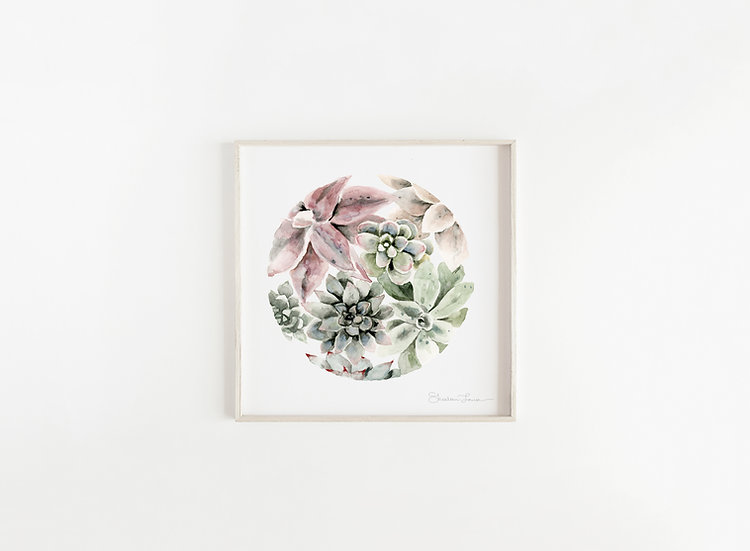 Circular Succulents Watercolor Painting — Print