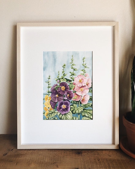 New Mexico Hollyhocks Original Watercolor Painting — 9x12