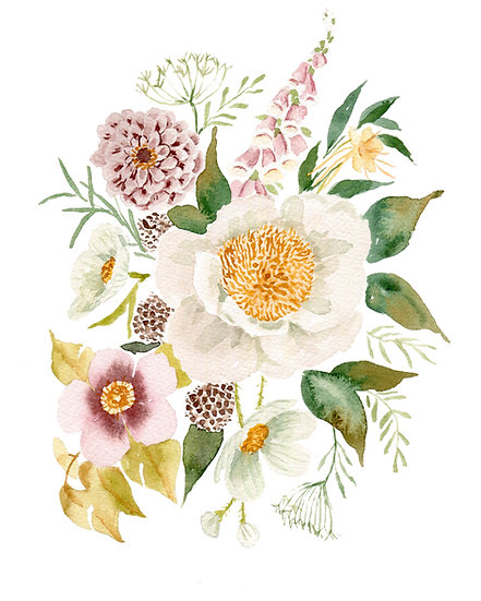 Muted Peony and Foxglove Bouquet — Print