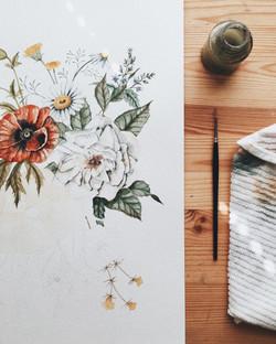 Wildflower Painting in Progress