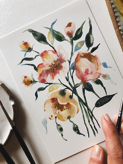 Loose Florals on Yupo Original Artwork — 5x7