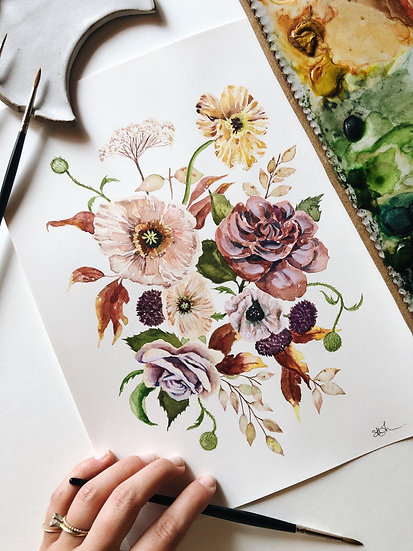 Fall Poppy and Rose Florals Original Watercolor Painting 9x12